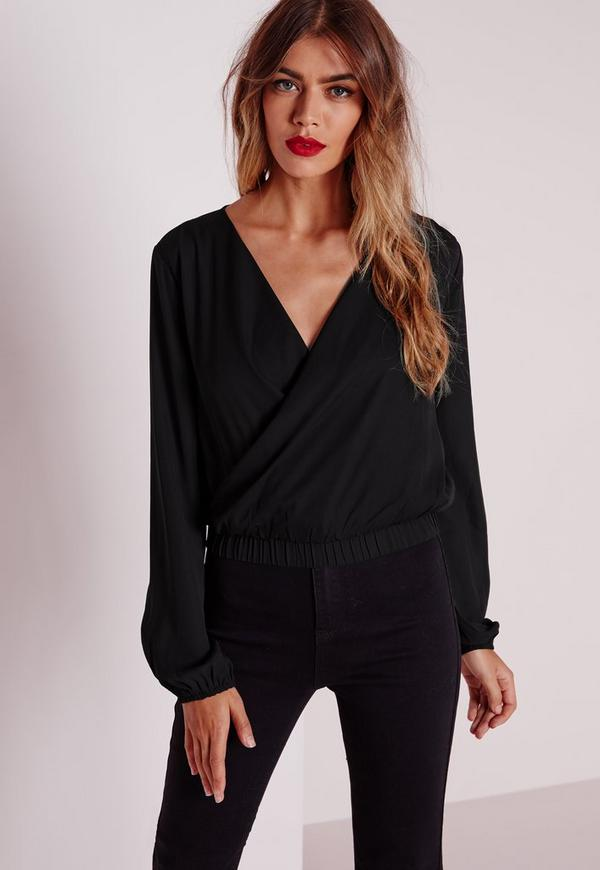 Cropped Wrap Blouse Black Missguided