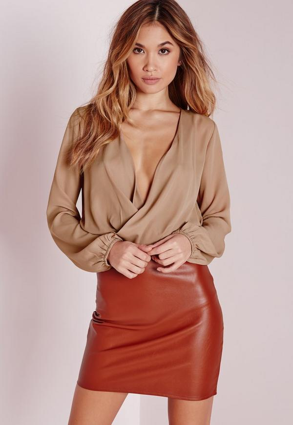 Cropped Wrap Blouse Camel