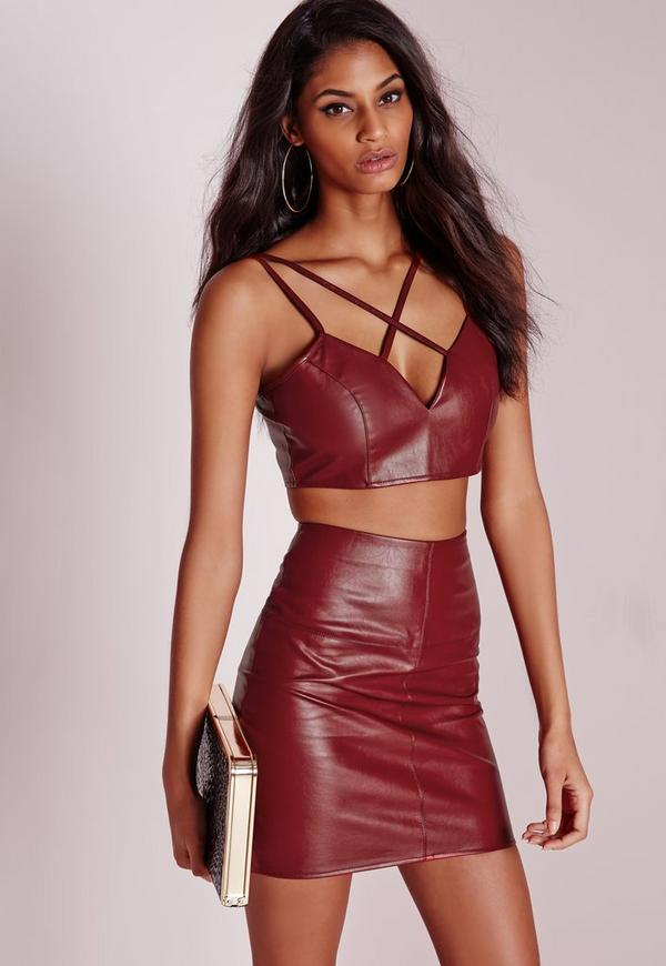 Faux Leather Cross Strap Plunge Bralet Burgundy