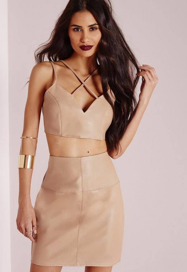 Faux Leather Cross Strap Plunge Bralet Camel