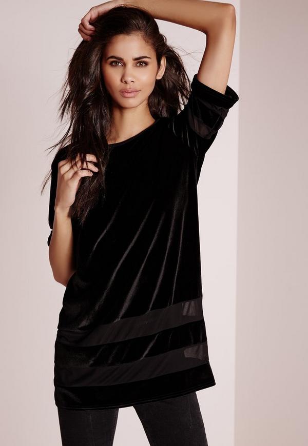 Mesh Insert Velvet T-Shirt Black