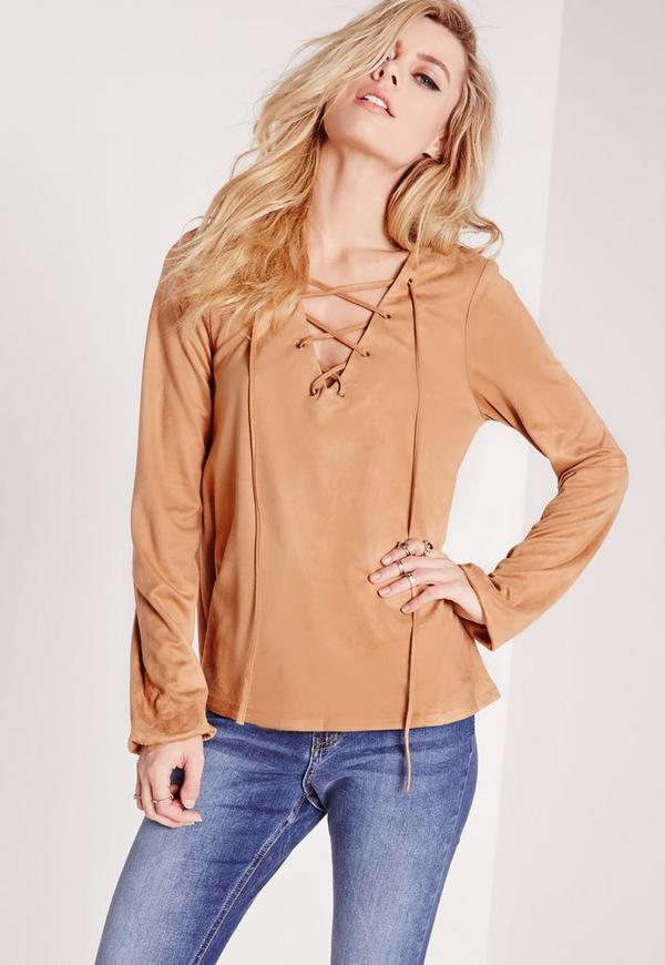 Faux Suede Lace Up Blouse Tan