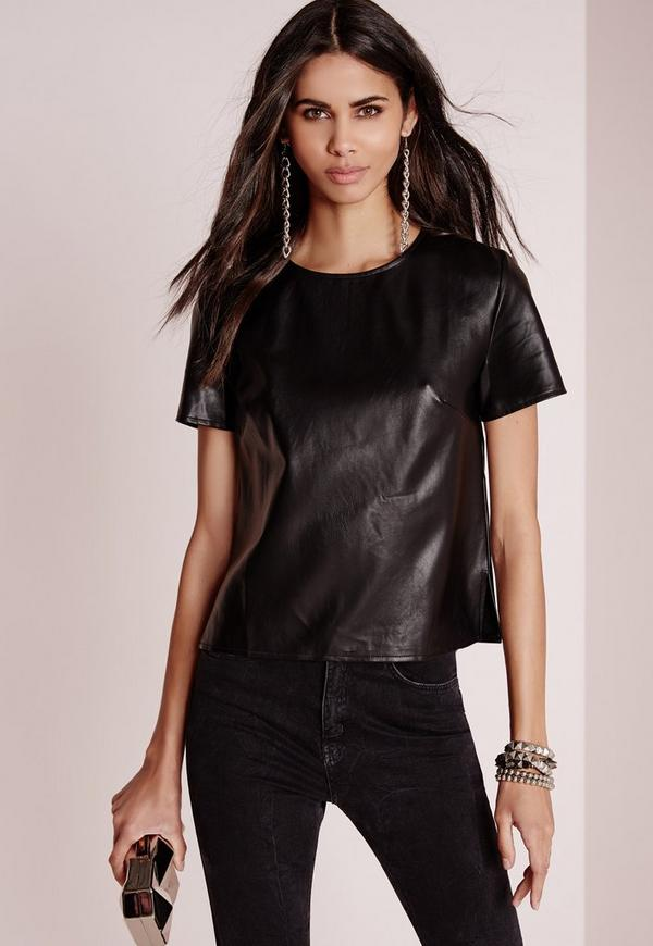 Faux Leather T-Shirt Black