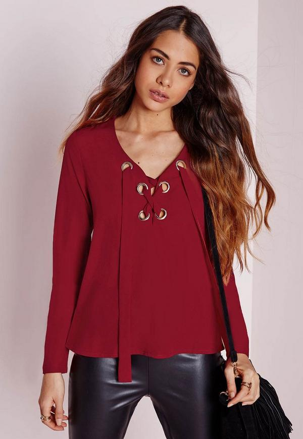 Eyelet Tie Blouse Red