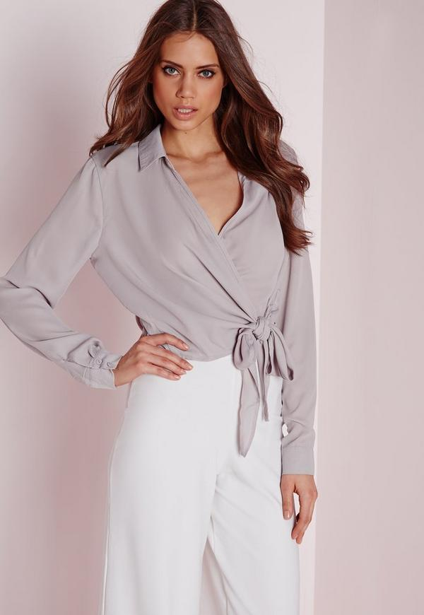 Tie Front Cropped Blouse Grey-16