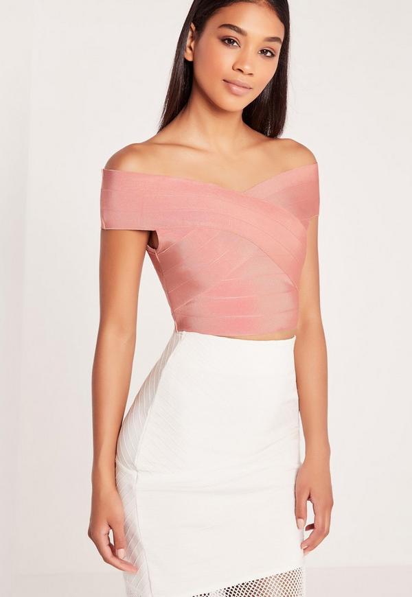 Bandage Bardot Crop Top Pink