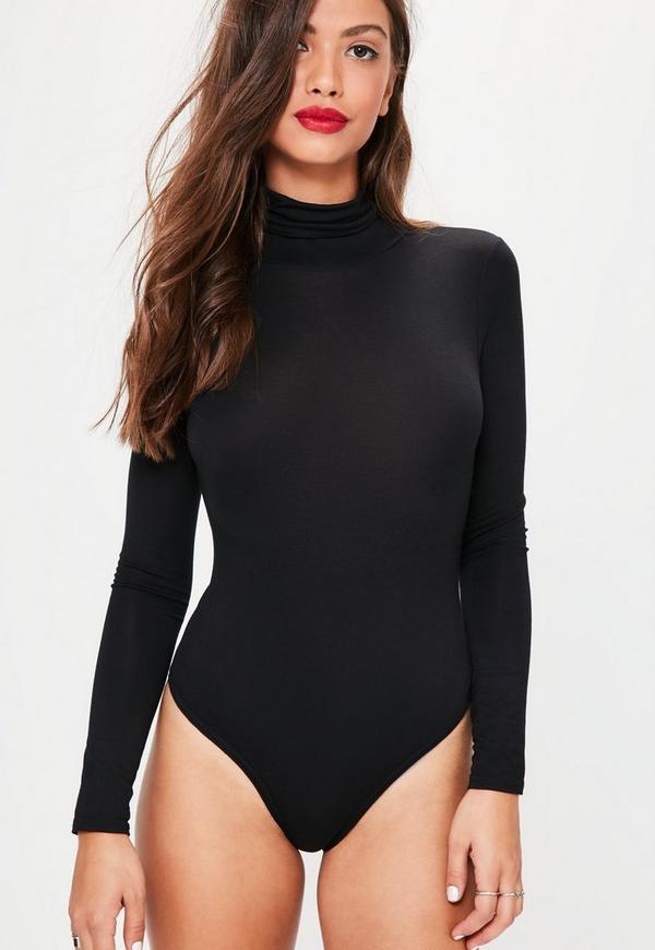 Black Long Sleeved Turtle Neck Bodysuit Missguided