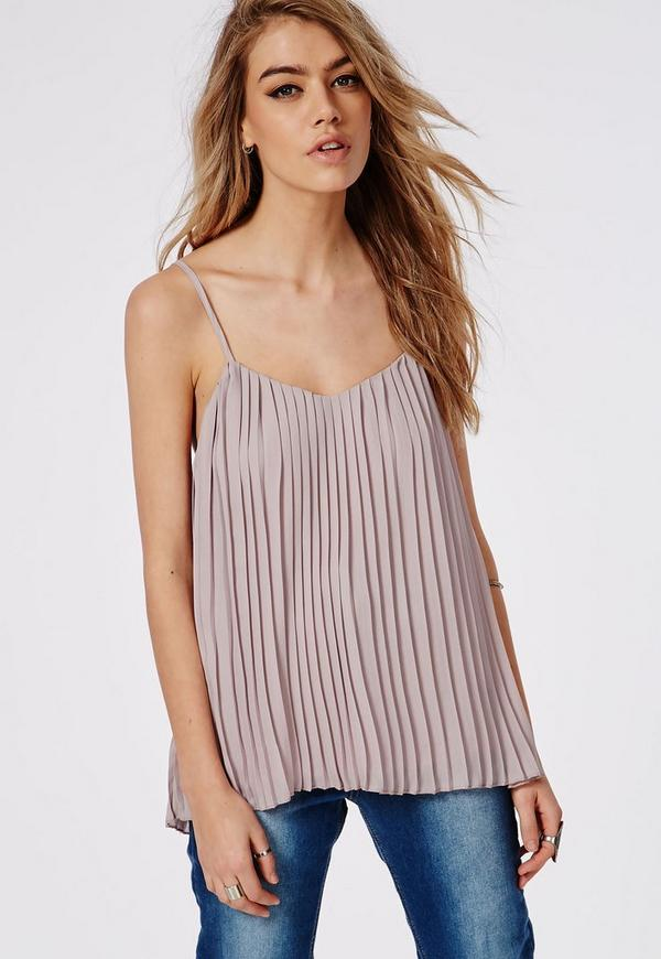 Pleated Cami Top Grey