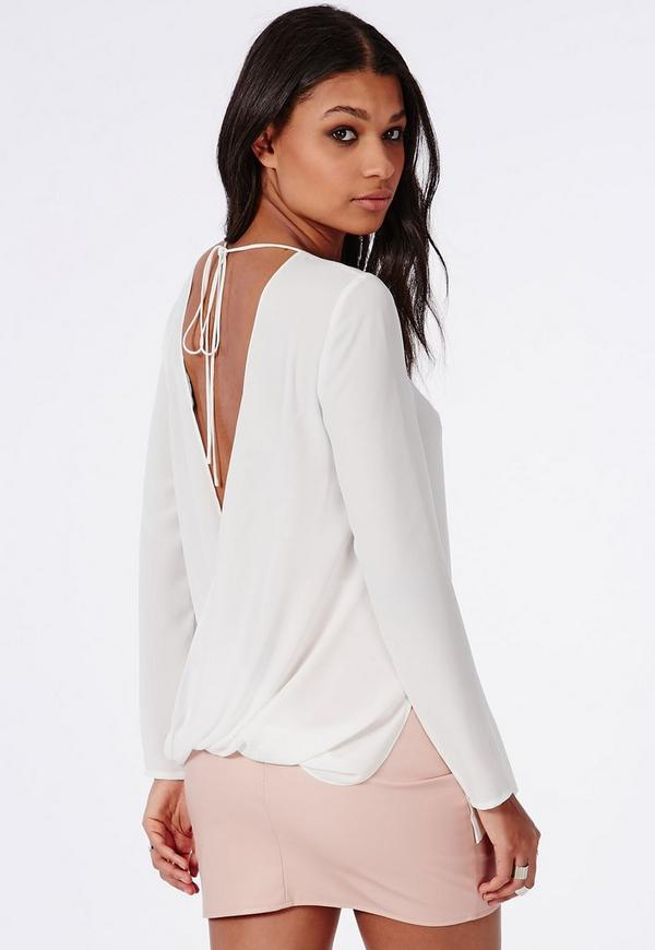 Open Back Blouse White