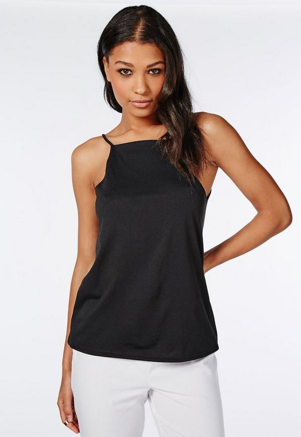 High Neck Cami Top Black