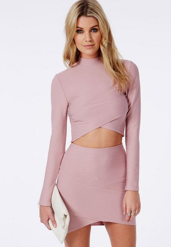 Bandage Wrap Over Crop Top Mauve