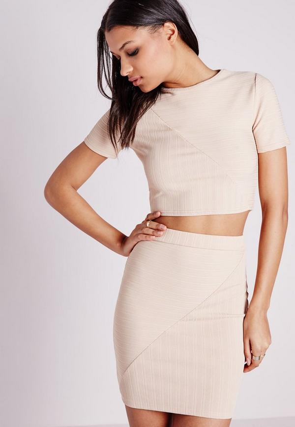 Round Neck Bandage Ribbed Crop Top Nude