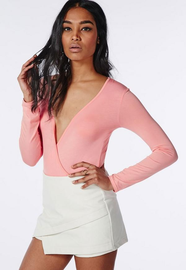 Long Sleeve Wrap Over Plunge Bodysuit Peach