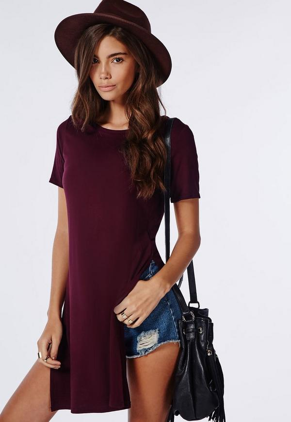 Split Side T Shirt Burgundy