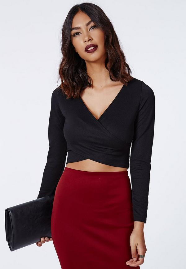 Janey Wrap Front Crop Top Black