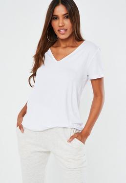 T-shirt boyfriend blanc col en V