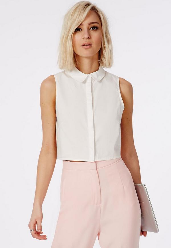 Sleeveless Cropped Shirt White