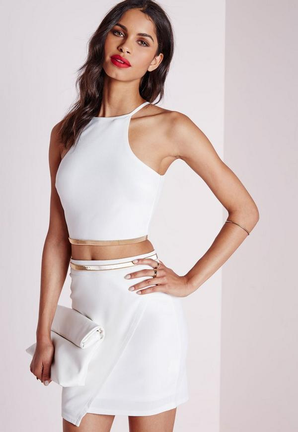 slinky chain crop top white missguided. Black Bedroom Furniture Sets. Home Design Ideas