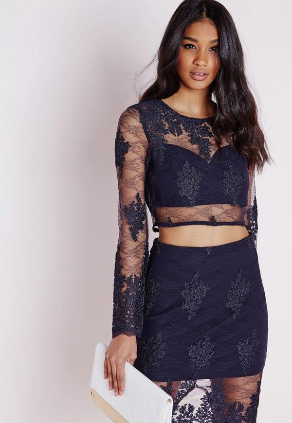 Premium Floral Lace Crop Top Navy