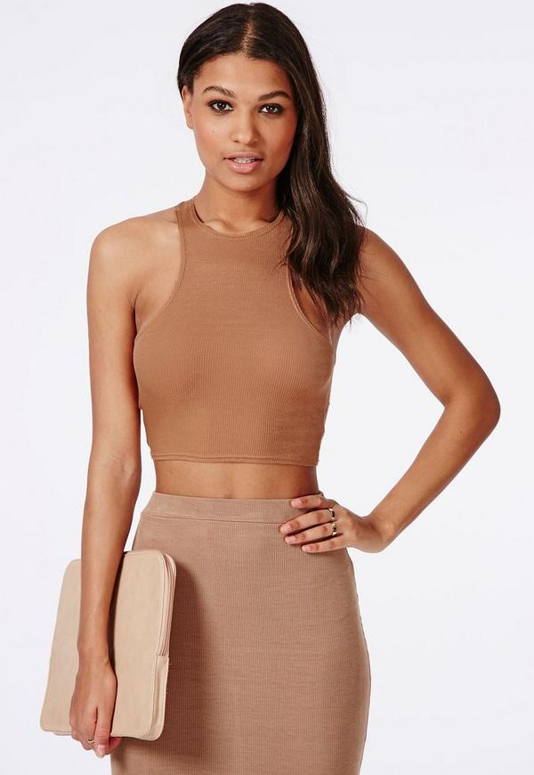 Racer Back Ribbed Crop Top Camel
