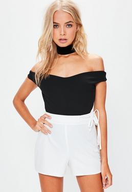Black Bardot Crepe Bodysuit