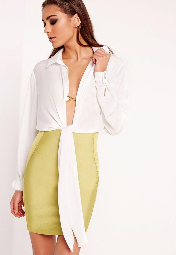 Tie Front Shirt Bodysuit White