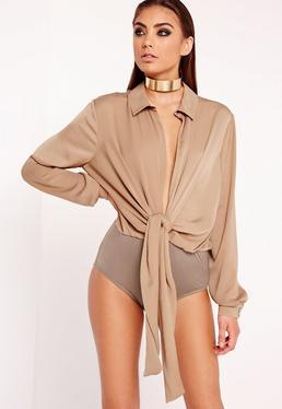 Tie Front Shirt Bodysuit Nude