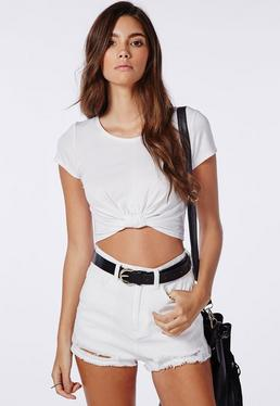 Capped Sleeve Knot Crop Top White