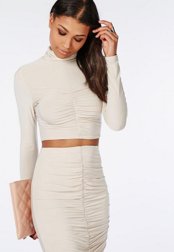 Ruched Slinky Crop Top Taupe