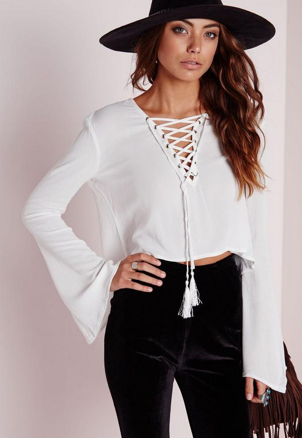 Bell Sleeve Tie Up Blouse White