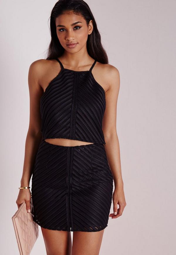 Chevron Mesh Crop Top Black