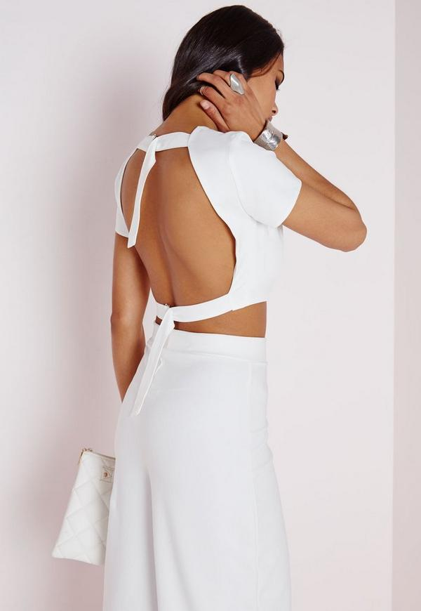 Open Back D Ring Crop Top White