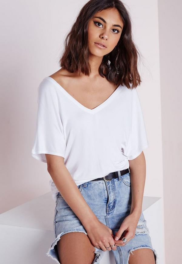 V Neck T Shirt White