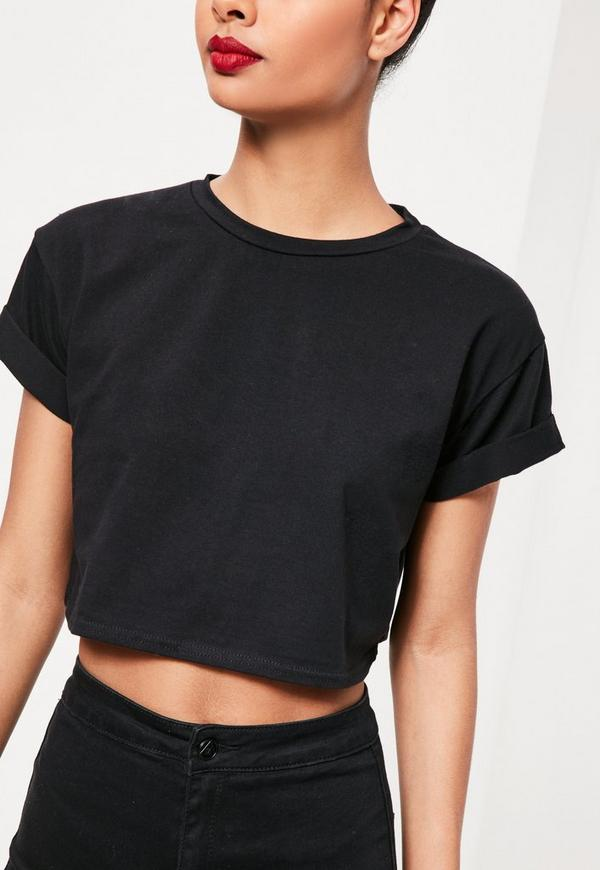 Roll Sleeve Cotton Crop Top Black Missguided