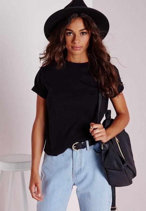 Roll Sleeve Cotton T Shirt Black