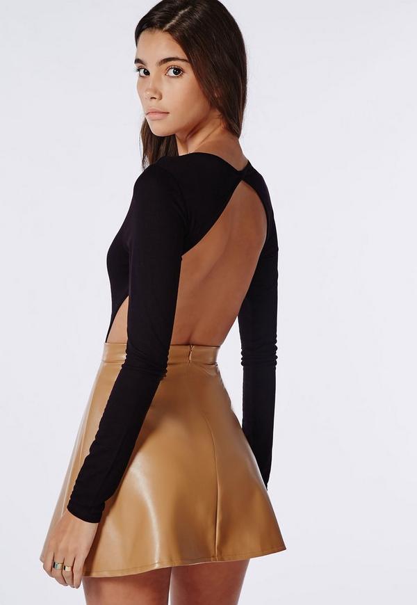 Long Sleeve Backless Bodysuit Black