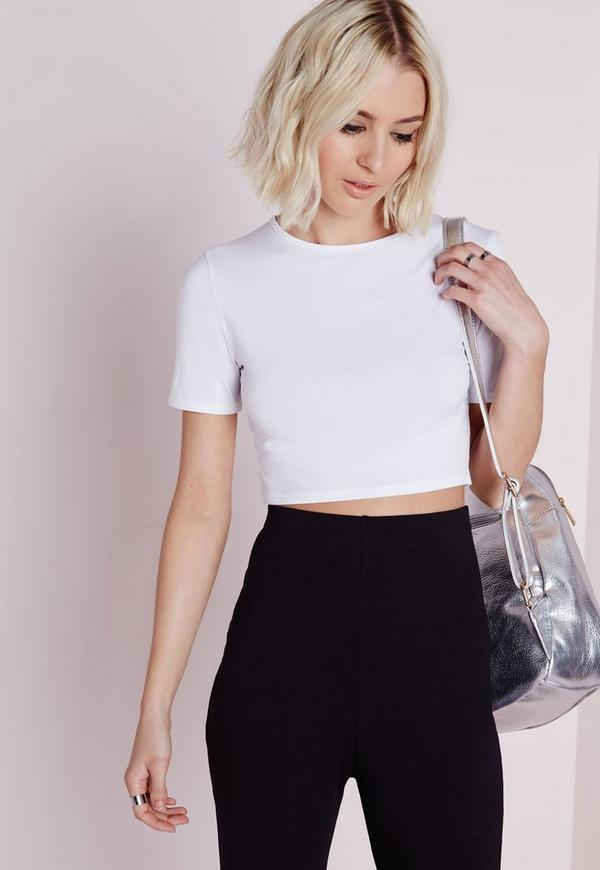 Capped Sleeve Crop Top White
