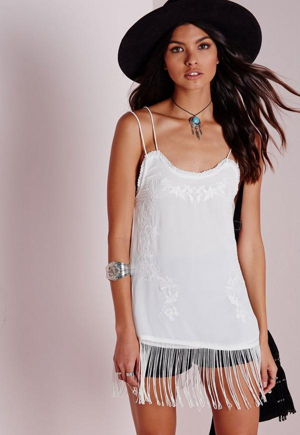 Embroidered Cami Top White
