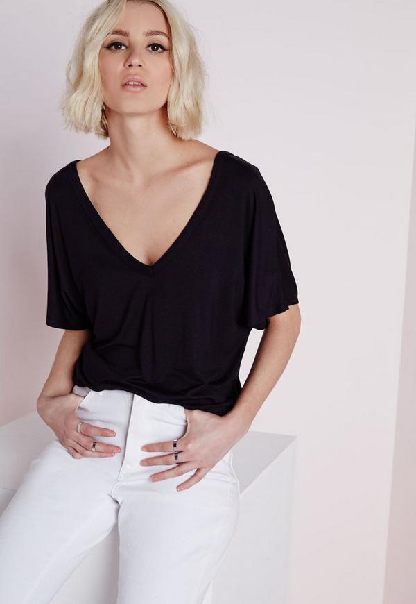 V Neck T Shirt Black