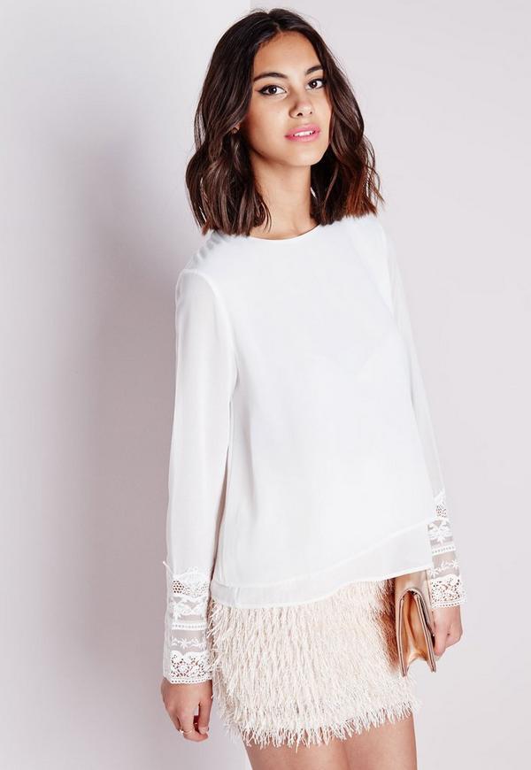 Double Layer Crochet Hem Blouse White