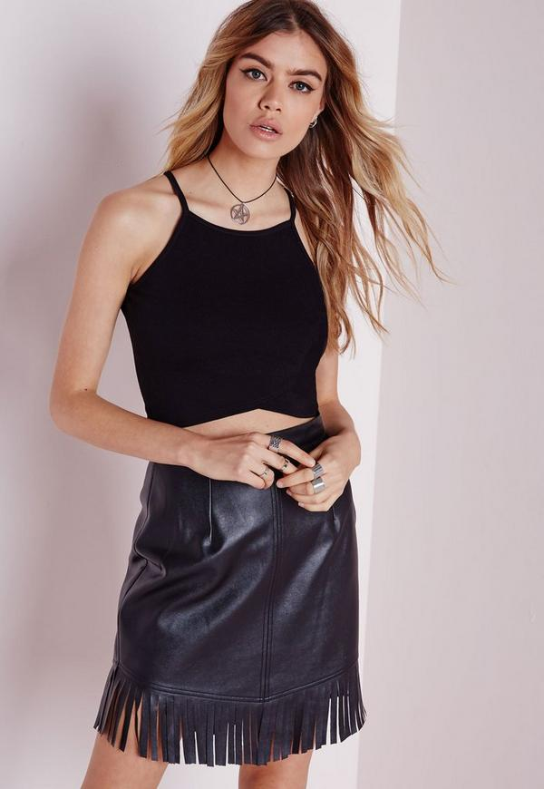 Wrap Over Crop Top Black
