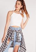 Wrap Over Crop Top White