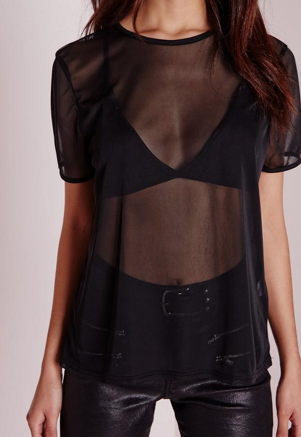 Mesh T Shirt Black | Missguided