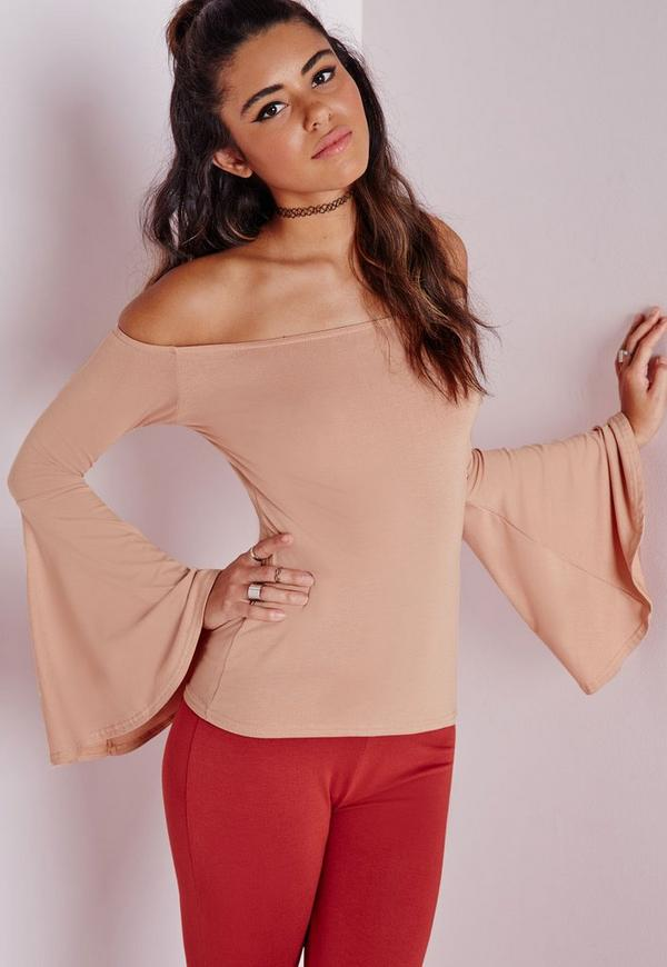 Bell Sleeve Bardot Jersey Top Taupe