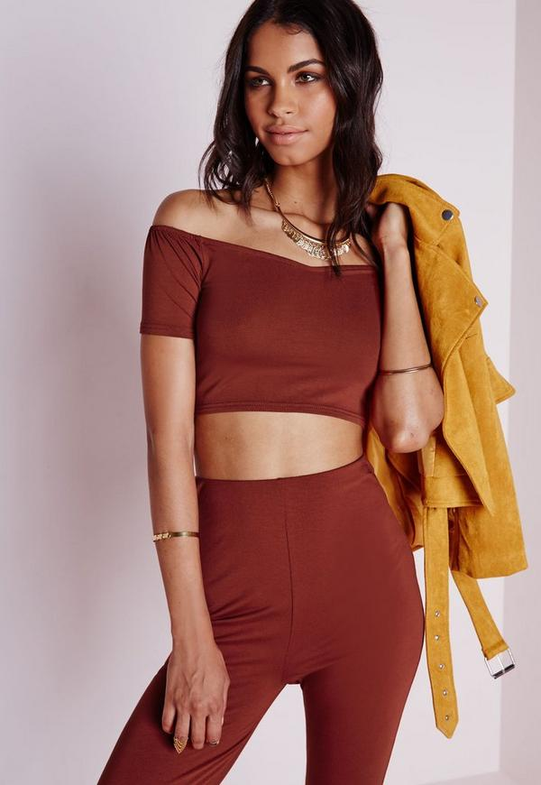 Bardot Jersey Crop Top Rust