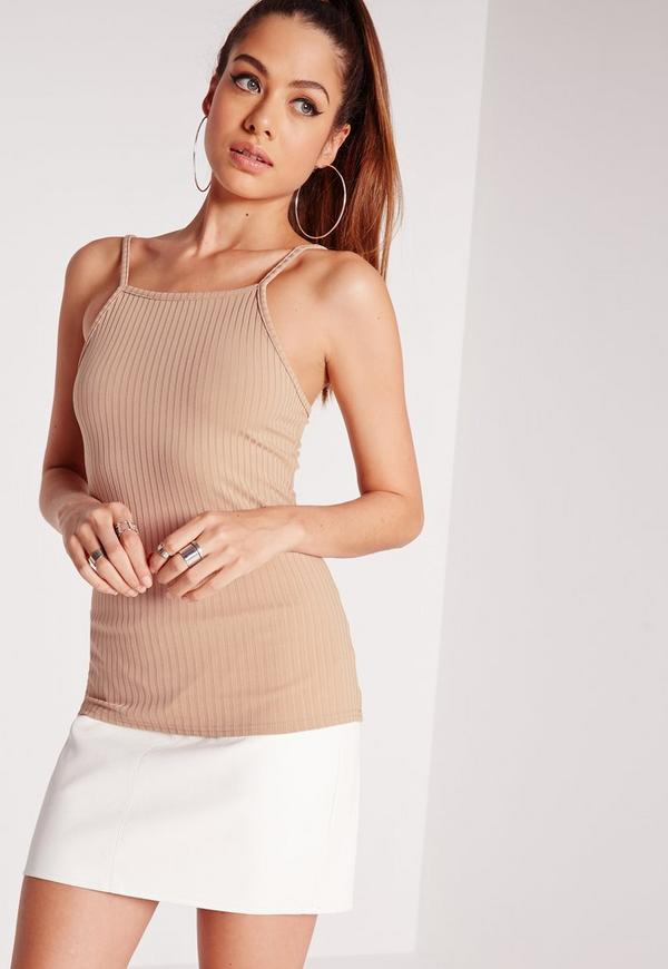 High Neck Ribbed Top Taupe