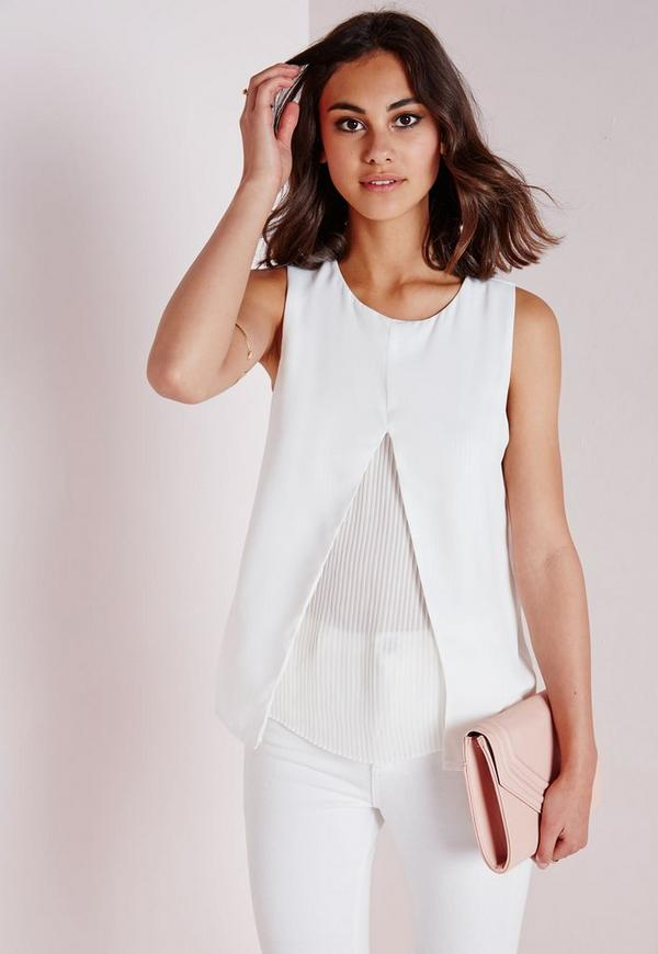 Double Layer Pleated Shell Top White