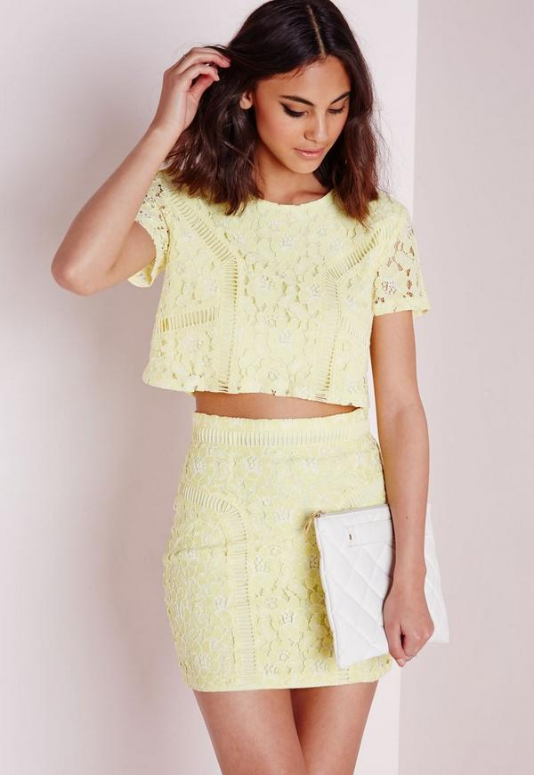 Floral Lace Ladder Detail Crop Top Yellow