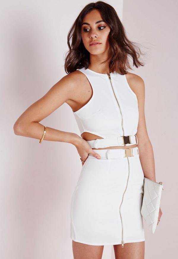 Buckle Cut Out Crop Top White