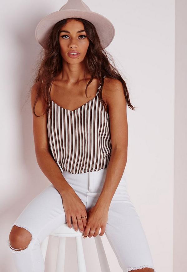 Brown Stripe Cami Crop Top